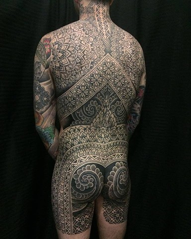 Completed back piece by Alvaro Flores Tattooer. Korpus, Melbourne. Australia