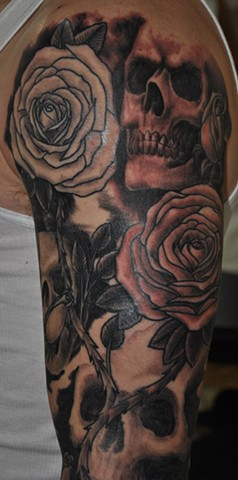 Skull and Roses upper arm