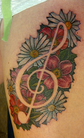 Flowers and treble clef
