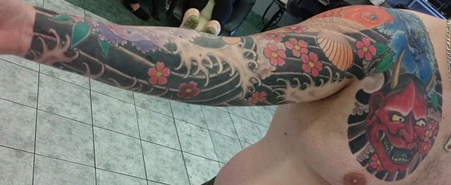 hannya koi peony sleeve tattoo