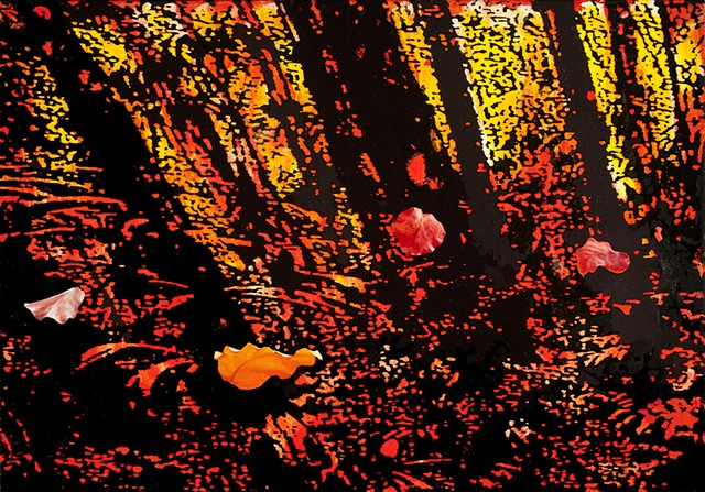 postmodern (photographic and hand-painted)  landscape painting of blowing leaves by Robert Mullenix