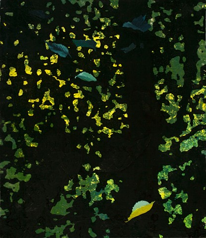 postmodern painting of leaves in acrylic, oil and photocopy transfer by Robert Mullenix