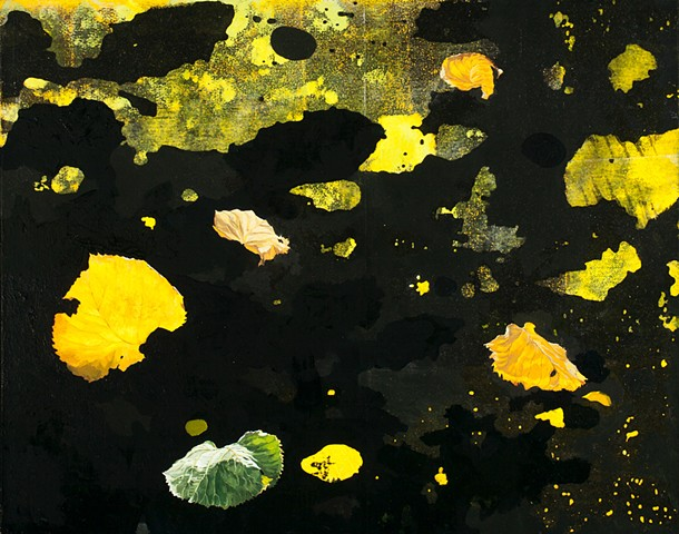 Postmodern landscape painting of leaves in acrylic, oil and photocopy transfer by Robert Mullenix