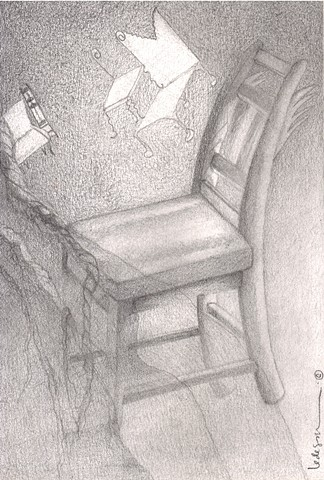 chair, graphite, dream, surreal, mystical, spiritual, Ledesma, Buenos Aires, Chicago, Fine Arts Building