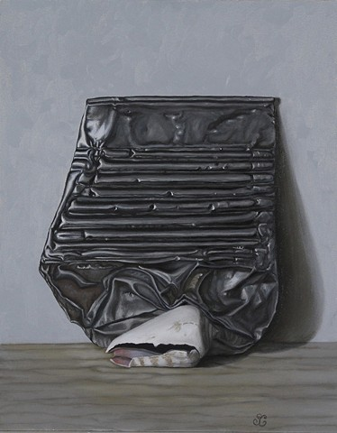 still life, realism, oil painting, classical art, figurative, sea shell, tin can, trash, art