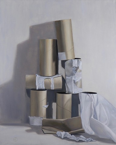 Realist, realism, classical realism, oil painting, still life, pandemic, 2020, coronavirus, covid19, toilet paper, quarantine