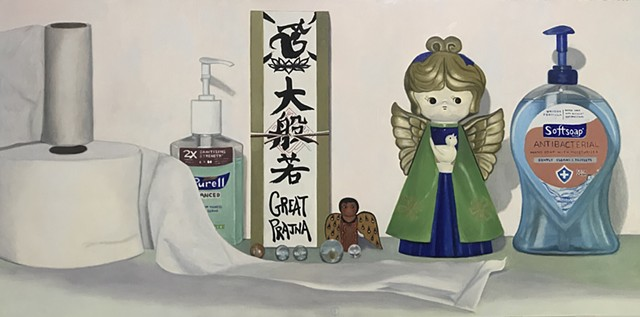 Realist art, oil painting, classical realism, pandemic, still life, covid-19, coronavirus art, hand sanitizer, angels, Japanese, Buddhism, soap, marbles