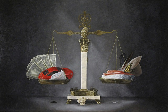 still life, realism, oil painting, classical art, figurative, balancing scale, oil, petroleum, cars, money, salmon, feathers, water, economy