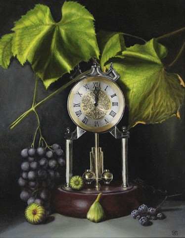 still life, realism, oil painting, classical art, grapes, figs, clocks, figurative