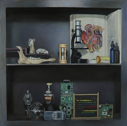 Realist Art, Oil painting, Classical realism, science, bones, skulls, time, book, still life, computer parts, cell phone, tromp-l'oiel, abacus, pills, bottles, contemopary art