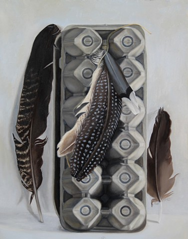 realist oil painting egg carton feathers
