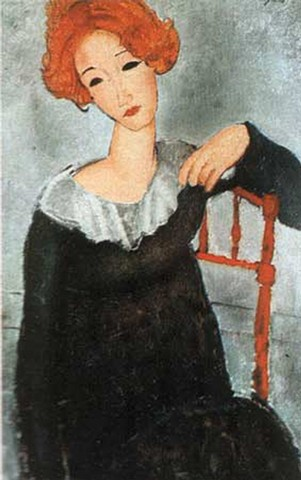 "Linda as ""Woman with Red Hair"" by Modigliani"