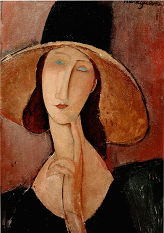 Portrait of a Woman in a Large Hat by Modigliani