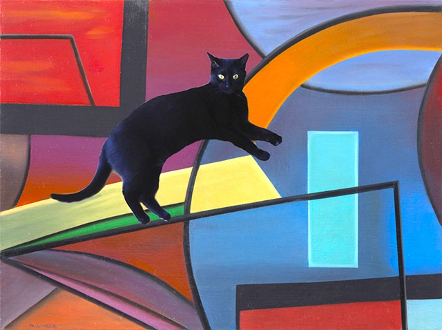 Mica the cat enters the work of 23 Chicago artists.