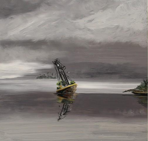 Wreck of the McDowell Island in Phoenix Bay, Arizona (Albert Bierstadt 1889, Wreck of the Ancon in Loring Bay, Alaska)