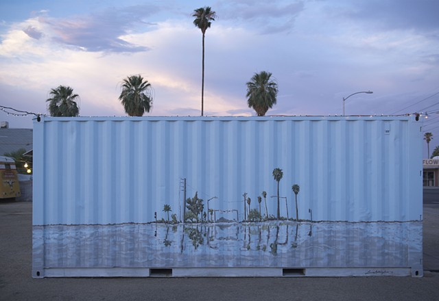 Mural downtown Phoenix Roosevelt Row shipping container gallery