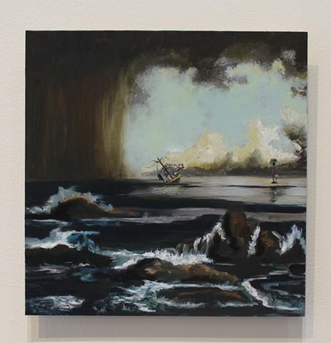 Sonoran Scene with Sinking Island and Palm (Martin Johnson Heade 1863, Coastal Scene with Sinking Ship)
