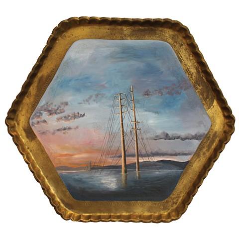 Transmission Lines at Evening on Hayden Bay (Fitz Hugh Lane 1863, Lumber Schooners at Evening on Penobscot Bay)