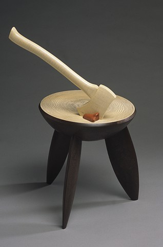 stool with axe in top