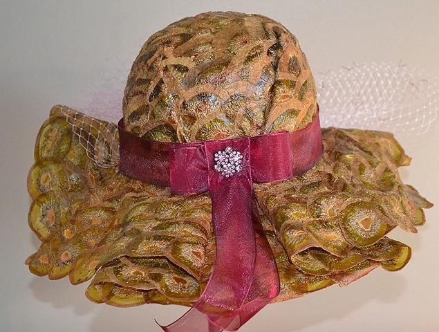 Derby Hat #5.  Wearable art.  Back side.