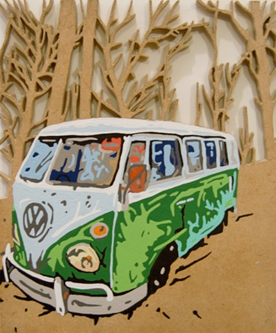 vw camper van art