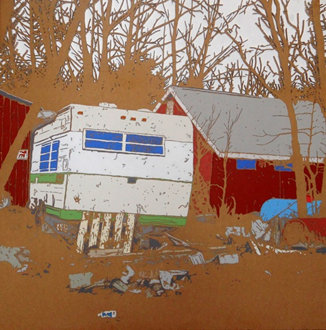 Matthew Spencer Caravan in forest painting art artist