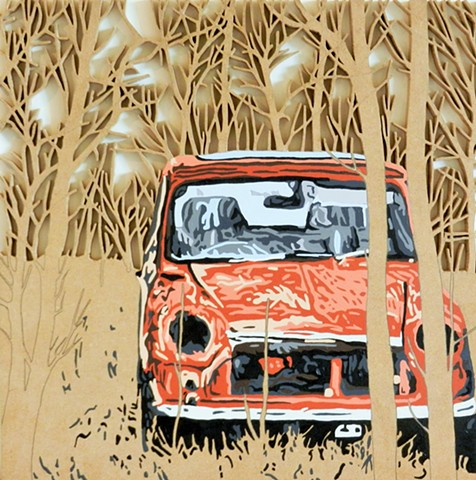 rusty mini cooper car art painting