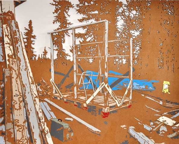 Matthew Spencer Construction site in forest art painting artist Matt Spencer wildlife nature