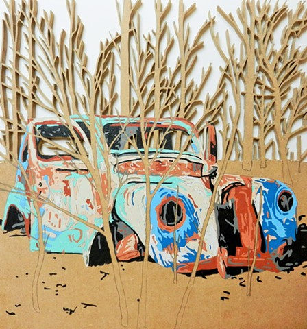 really old car matthew spencer graffiti art sculture wood cut