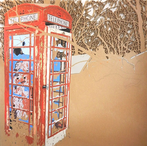 Red phone box in woods matthew spencer