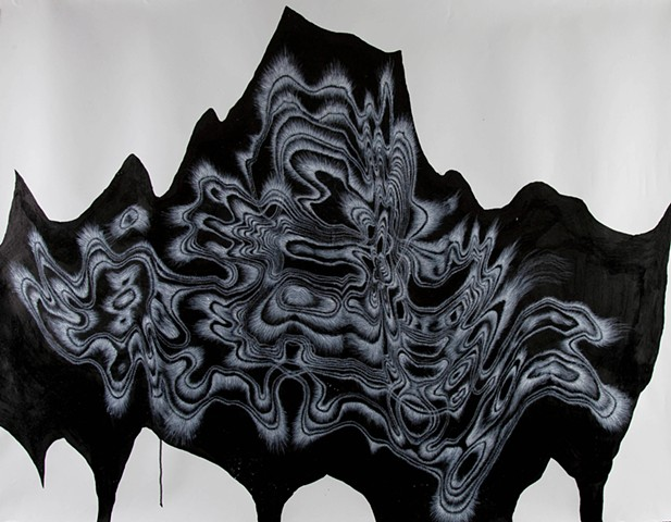 Large scale abstract ink drawings