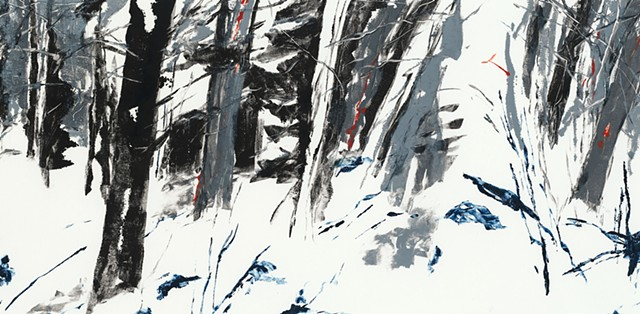 Monotype print of forest in winter snow on Rives BFK printmaking paper by artist printmaker Debra Jewell