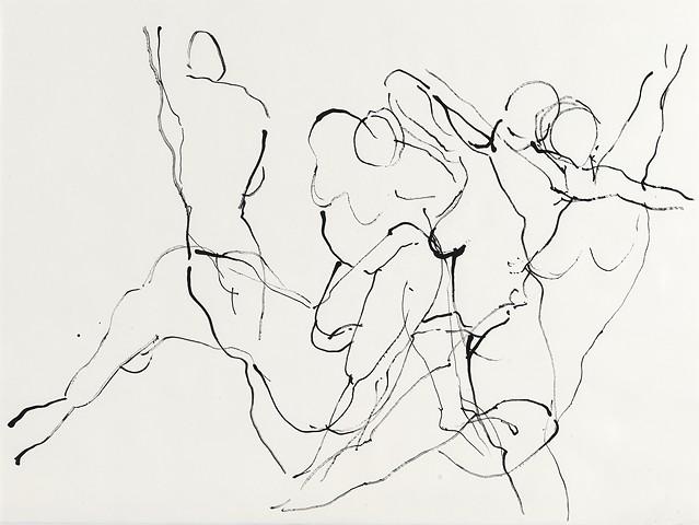 Sumi ink figure drawing on paper by artist printmaker Debra Jewell
