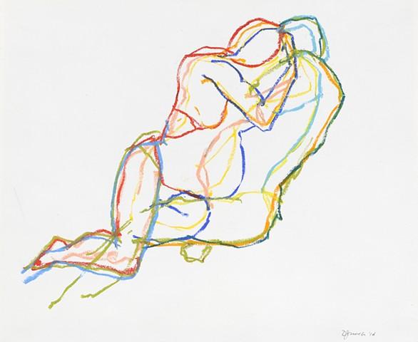 Oil pastel figure drawing on paper by artist printmaker Debra Jewell