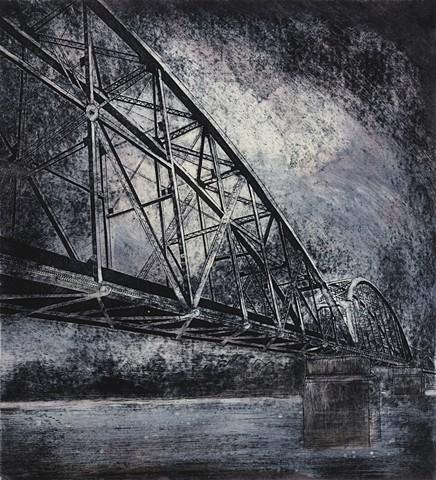 Drypoint print with Monotype of Little Rock Trestle Railroad Bridge by artist printmaker Debra Jewell