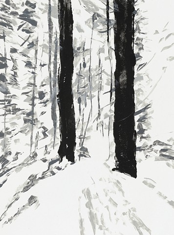 Painterly monotype print of forest by printmaker & artist Debra Jewell