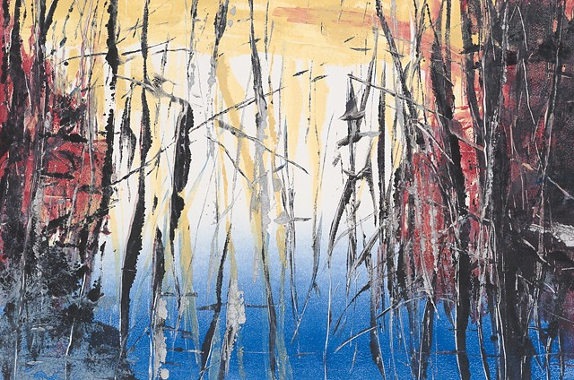 Monotype print of lake and forest reflections on Rives BFK printmaking paper by artist printmaker Debra Jewell