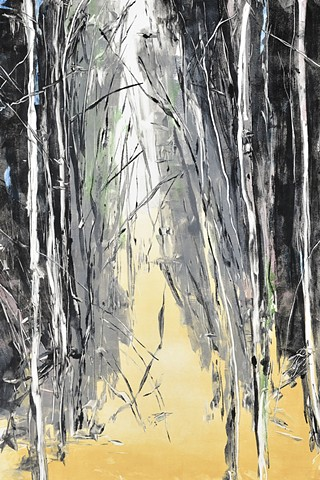 Monotype print of forest on Rives BFK printmaking paper by artist printmaker Debra Jewell