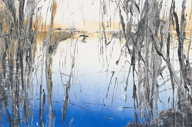 Painterly monotype print of lake and forest reflections by printmaker & artist Debra Jewell