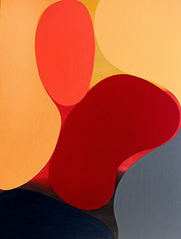 Gary Paller painting of organic shapes, warm bright colors by Gary Paller  acrylic on canvas