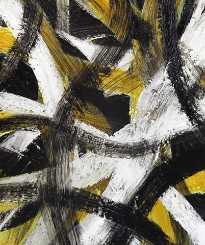 yellow white and black painting