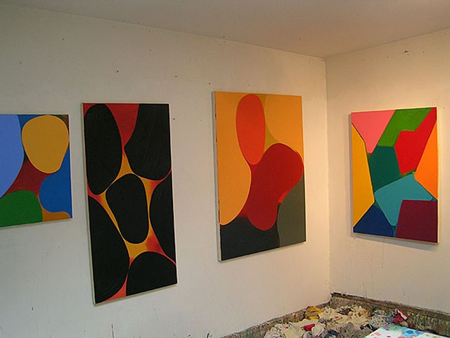 paintings in the studio by gary paller   4 abstractions in studio