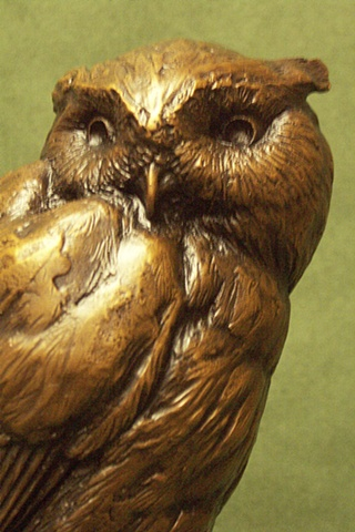 Michelle Post, art, bronze, sculpture, michelle post, owl, bat