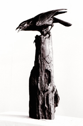 Michelle Post, art, bronze, crow, On Guard, raven