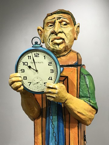 Sculpture, grandfather clock, Tronie, Michelle Post,