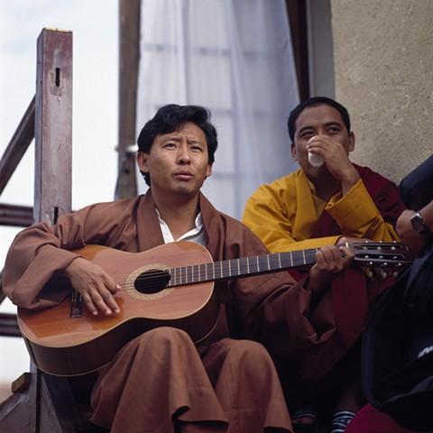 Lama Tenzin Samphel and Spiti Tulku, Urgyen Samye Chöling (Laugeral), France, circa 1990
