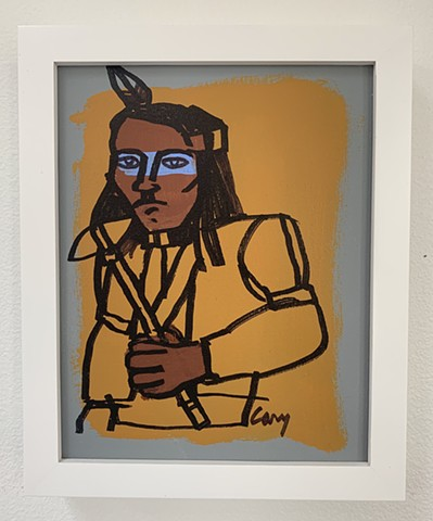 Chief 5, acrylic on canvas, 8x10. Framed in white wood, gallery frame.