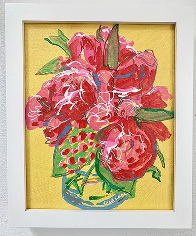 Pink Peonies, acrylic paint on primed MDF hardboard panel, white frame, signed.
