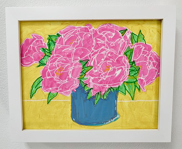 Pink Peonies painted with acrylic paint on primed MDF hardboard panel, framed in white gallery frame