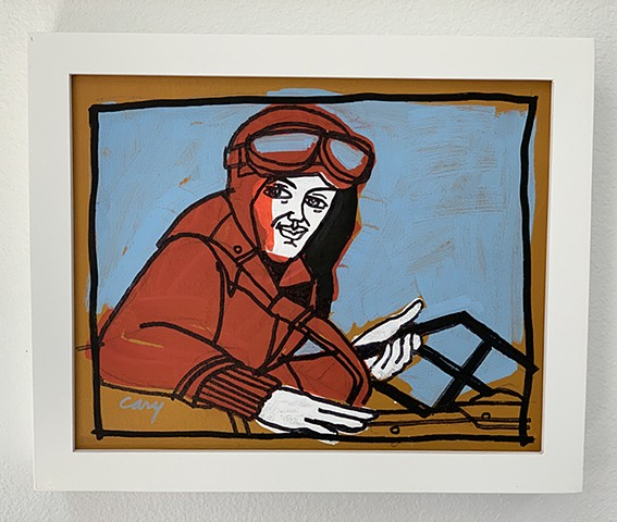 Amelia Earhart painted with acrylic paint on stretched canvas framed in white, wood gallery frame
